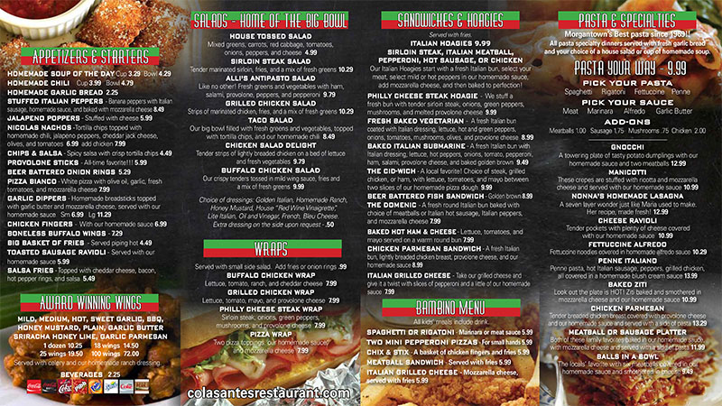 Colasante's Morgantown Menu